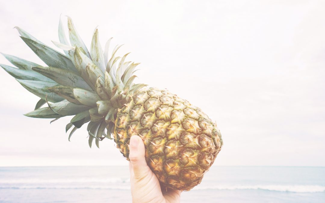 Person holding up a pineapple in front of the ocean