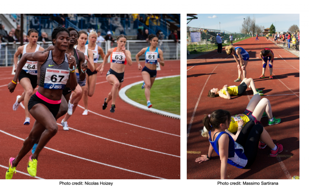 Two side by side image: On the left, a team of racers making the final turn. On the right, a team of exhausted racers laying on the ground.